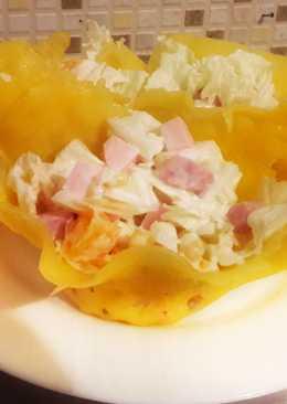"""Нереально вкусный салат """"Мандариновая нежность"""" в сырной корзиночке"""