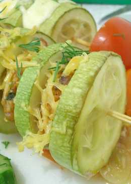 Кабачки-шашлычки - шашлыки из кабачков с фаршем на овощной подложке