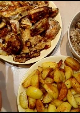 Минтай с картофелем и грибами