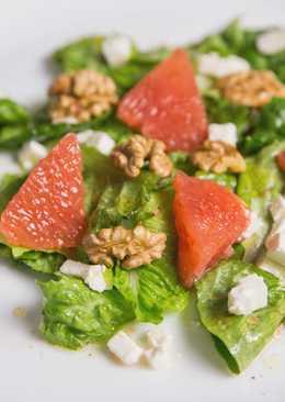 Новогодний салат с грейпфрутом, фетой и грецкими орехами
