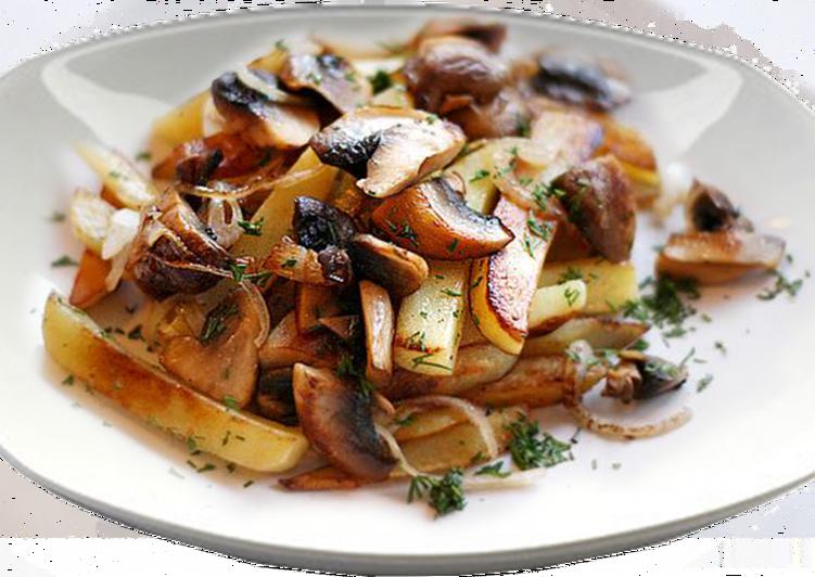 Белые грибы с картошкой жареные