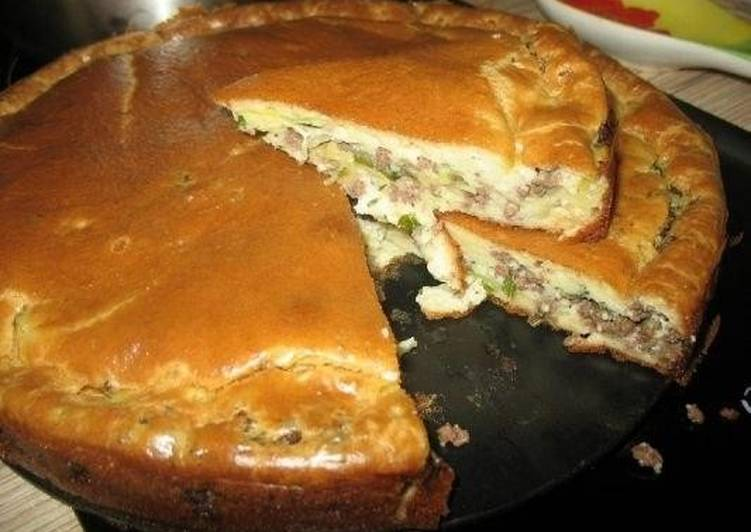 пирог с фаршем в духовке пошаговый рецепт с фото на кефире