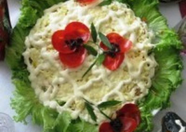Салат новогодний «Маки на снегу»