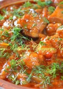 Мясное рагу с помидорами и баклажанами