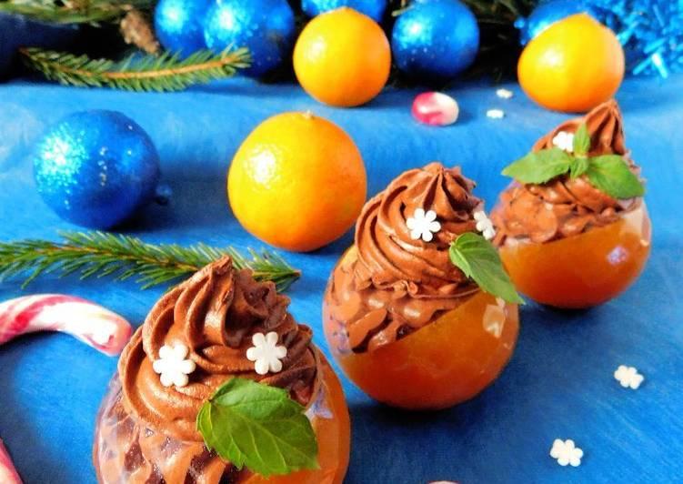 Десерт из хурмы с шоколадным муссом
