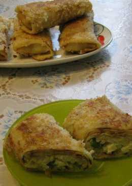 Блинчатые пирожки с рисом и яйцом