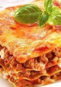 Рецепт итальянской лазаньи с говяжьим фаршем, томатно-сливочным соусом и сыром