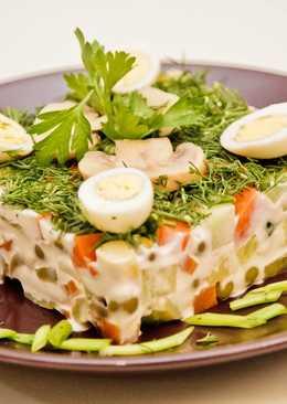 Салат оливье. Рецепт оливье с маринованными грибами. Готовим праздничный салат