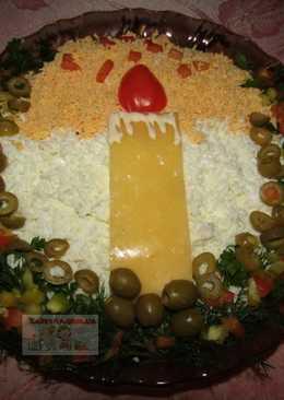 Новогодний салат «Свеча» с ветчиной, грибами и сыром