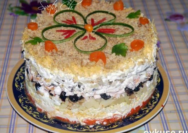 Салат торт с курицей