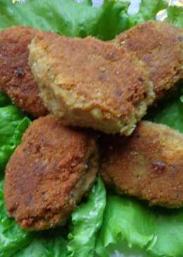 Котлеты из нута с грибами и консервой из скумбрии (постные)