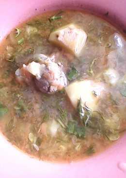 Суп овощной с печенью