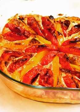 Нежная и яркая вкуснятина для похудения - творожная запеканка с томатами и сладким перцем
