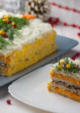 Закусочный мясной торт Новогодняя елочка