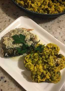 Тушеная рыба с рисом на гарнир 🍚