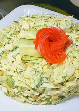 Салат с капустой, яйцом, огурцом и зелёным горошком. Пошаговый рецепт вкусного и быстрого салата