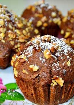 Шоколадно-тыквенные кексы с орехами