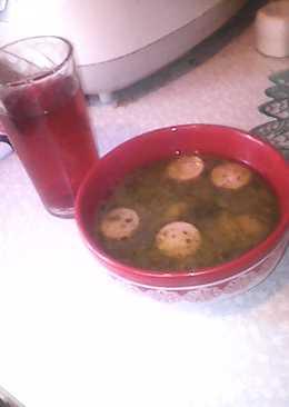 Картофельно- тыквенный суп с сосисками