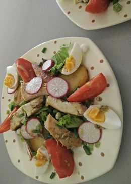Тёплый салат с курицей, каперсами и анчоусами