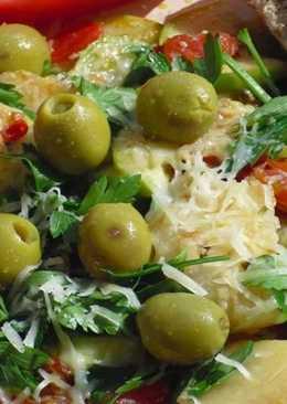 Овощной микс из кабачков, чеснока, помидоров и петрушки