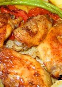 Куриные бёдрышки на овощной подушке в рукаве!Быстро и вкусно