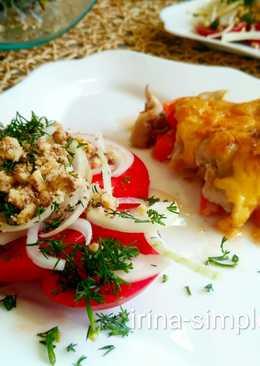 Цыплята, запечённые с овощами с салатом из помидоров #кулинарныймарафон