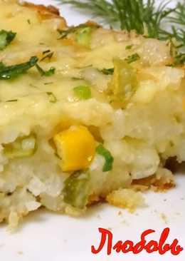 Идея для ужина -Пирог-запеканка с рисом и кукурузой