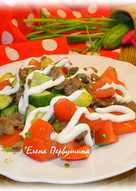 Салат овощной с куриной печенью #кулинарныймарафон