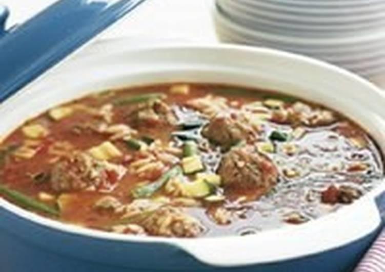 Суп с макаронами, овощами и фрикадельками по-итальянски