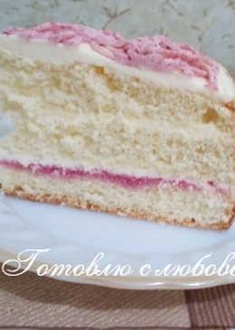 🍰Бисквитный торт с брусничным сиропом #кулинарный марафон