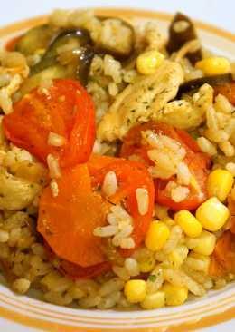 Сочная куриная грудка с рисом и овощами