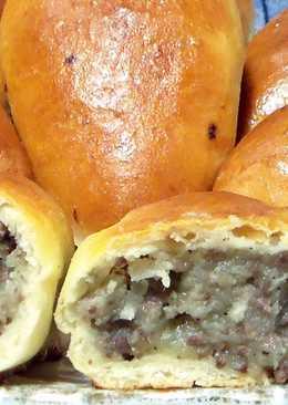 Пирожки с ливером и картошкой, запечённые в духовке