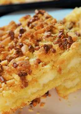 Тертый пирог с творожной начинкой и орехами. Песочный пирог