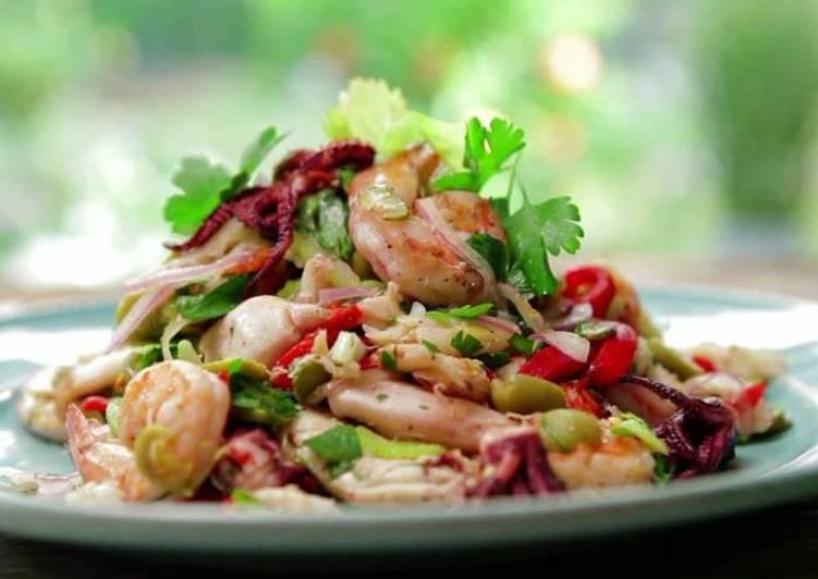 Рецепты салата креветки кальмар