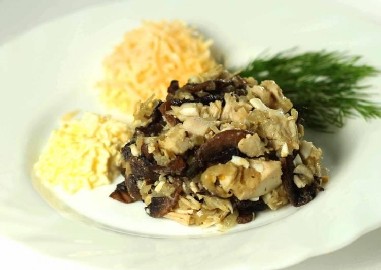 Салат грудка шампиньоны чернослив