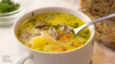 Бесподобный Сырный Суп с Куриными Сердечками