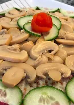 Постный слоеный салат без майонеза