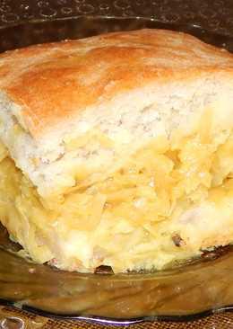 Постный заливной пирог с капустой и огуречным рассолом