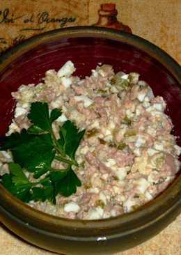 Классический салат с тресковой печенью