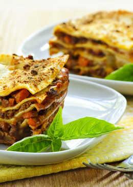 Очень вкусная мясная лазанья болоньезе с фаршем и грибами