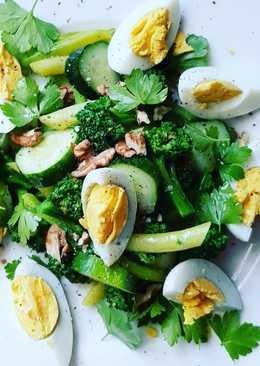 Салат диетический зелёный 💚 с овощами аль-денте