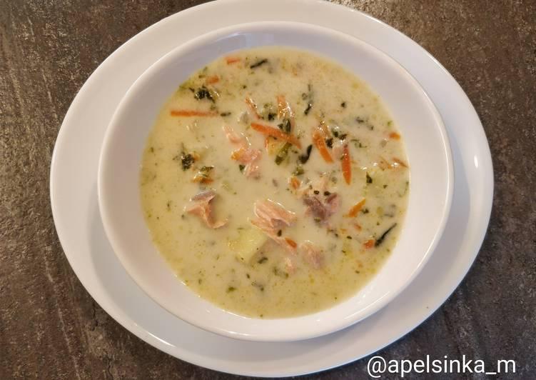 Суп с форелью и шпинатом