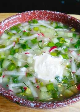 Постная овощная окрошка с огуречным рассолом