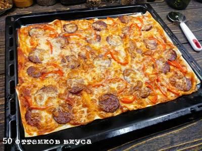 """Пицца """"пепперони с перцем"""" из листов лазаньи"""