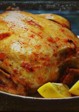 Курица в духовке фаршированная яблоками в медовом соусе на новый год и рождество