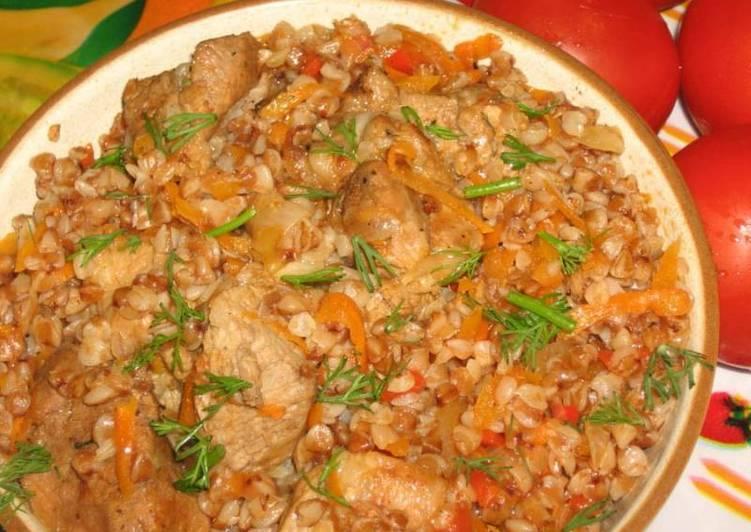 Гречка с курицей на сковороде рецепт с фото диетические
