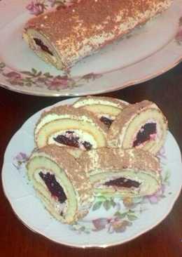 Бисквитный РУЛЕТ С кремом и ягодным желе