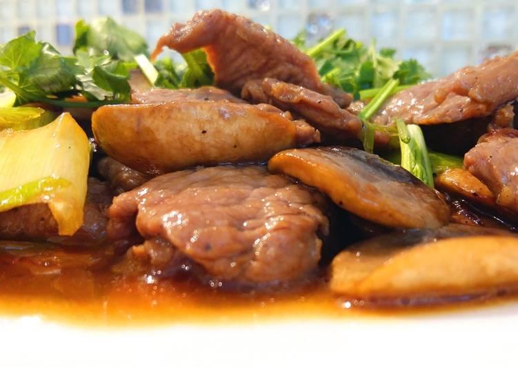 Жареная баранина с грибами по-китайски