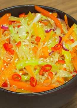 Фунчоза со свежими овощами по-корейски