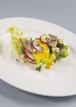Салат из маринованной норвежской сельди и корнишонов с горчичным соусом